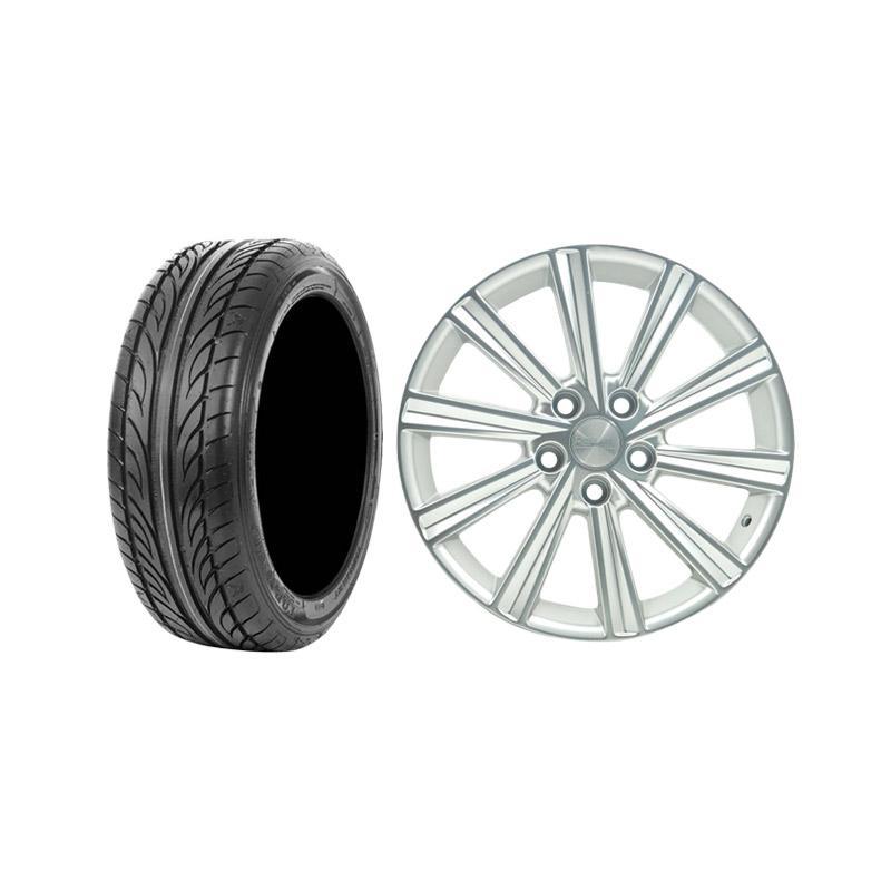 Paket Special TKB GROUP INDONESIA [HSR Wheel Camry JD171 Silver Velg Mobil Ring 17x7 H5x114,3 ET40 + Accelera Alpha 205/45 R17 Ban Mobil Black]