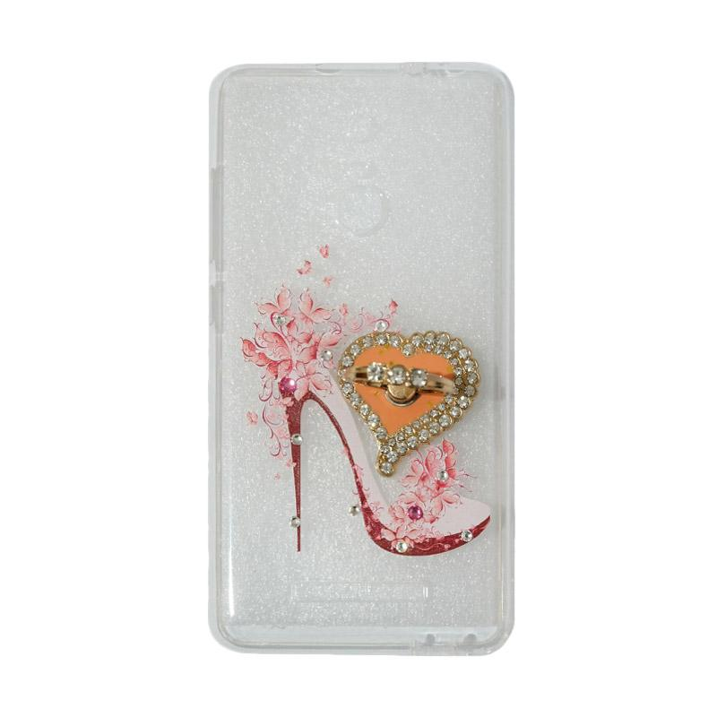 VR Softshell Swarovski High Heels 4 Ultrathin Silicone Softcase with Ring Stand Diamond Casing for Xiaomi Redmi Note 3