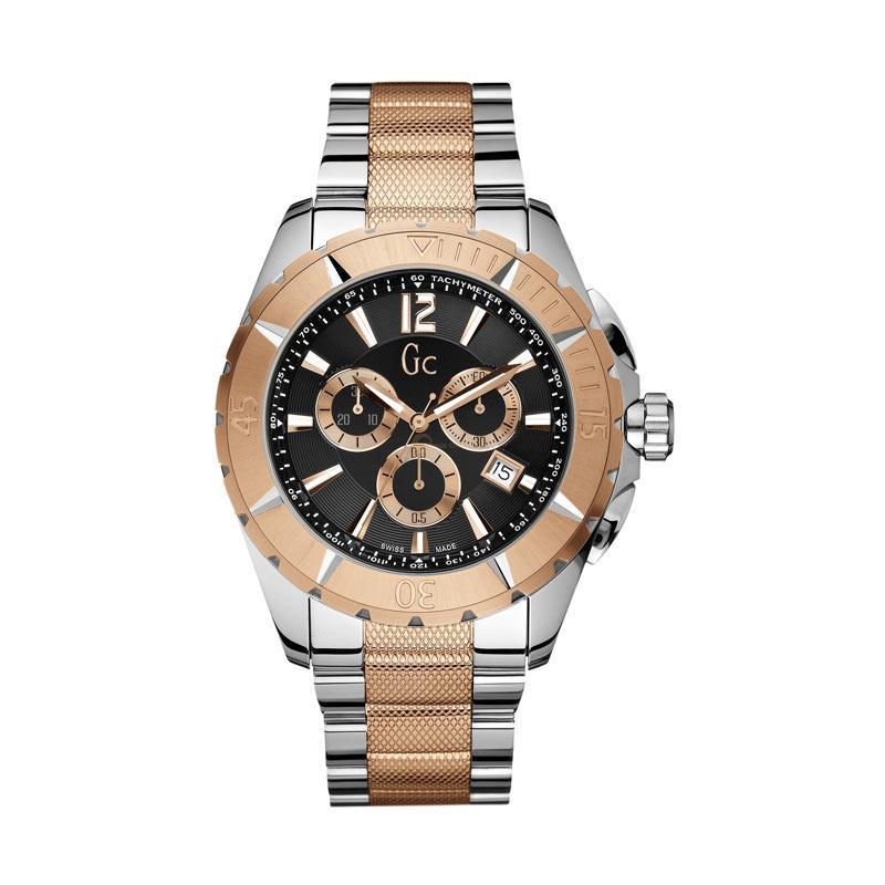 Jual Guess CollectionGc Sport Class XXL Chronograph Stainless Jam Tangan Pria X53003G2S Silver Rose Gold Black