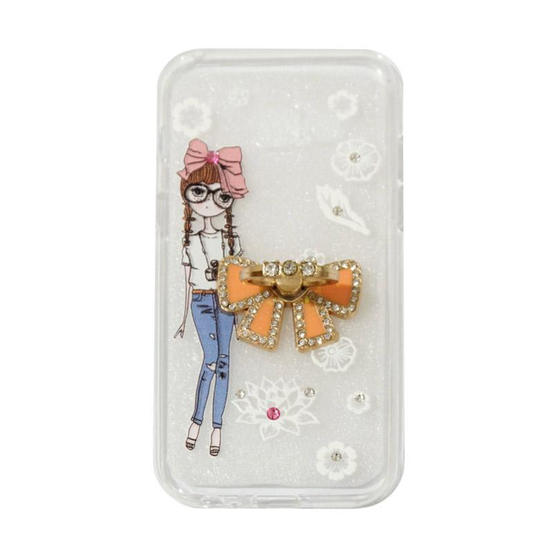 VR Softshell Swarovski Girls 1 Ultrathin Silicone Softcase with Ring Stand Diamond Casing for Samsung Galaxy A320 or A3 2017