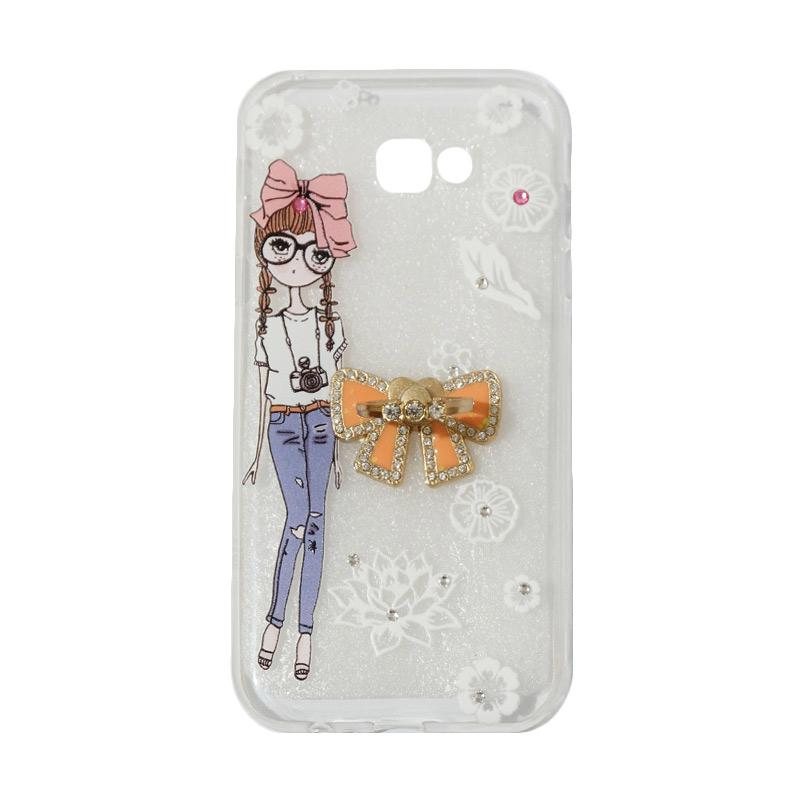VR Softshell Swarovski Girls 1 Ultrathin Silicone Softcase with Ring Stand Diamond Casing for Samsung Galaxy A720 or A7 2017