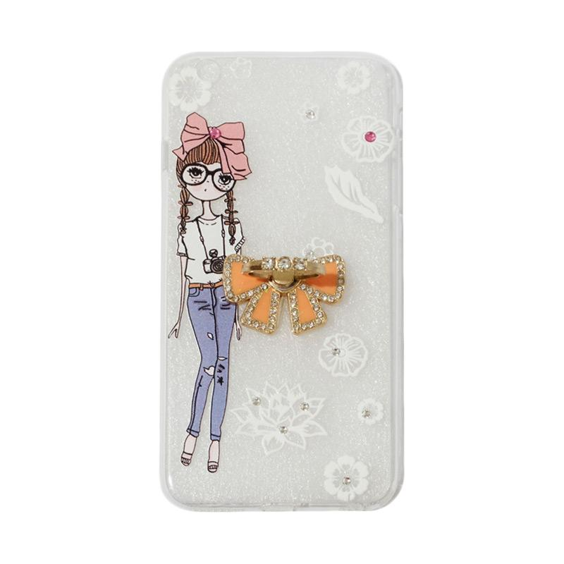 VR Softshell Swarovski Girls 1 Ultrathin Silicone Softcase with Ring Stand Diamond Casing for Apple iPhone 6 Plus 5.5 Inch