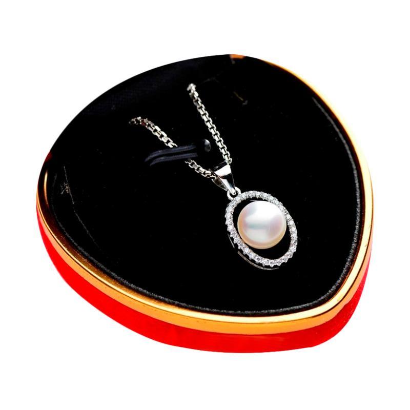 Royale Jewel WGP 068D Kalung Perak Emas Putih dan Mutiara Asli Full Upgrade with White Gold Sterling Chain and Velvet Box