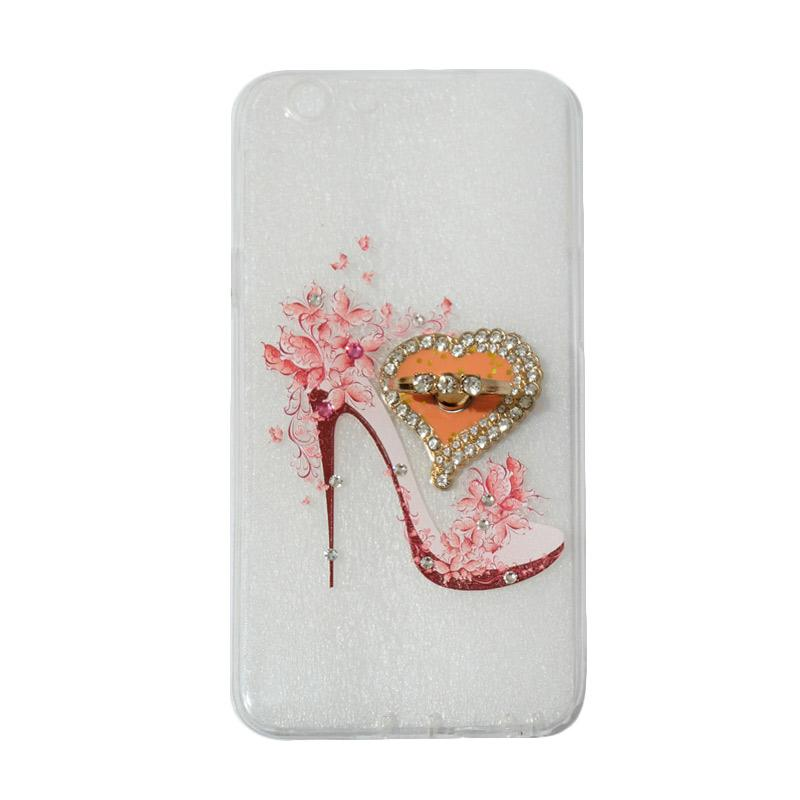 VR Swarovski High Heels 4 Ultrathin Silicone Softcase Casing with Diamond Ring Stand for Oppo F1s Selfie Expert or A59