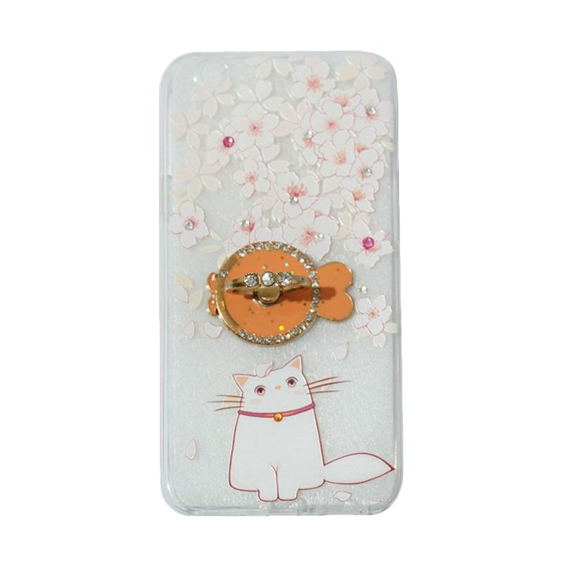 VR Softshell Swarovski Cat 7 Kucing Ultrathin Silicone Softcase with Ring Stand Diamond Casing for Oppo F1s Selfie Expert or A59