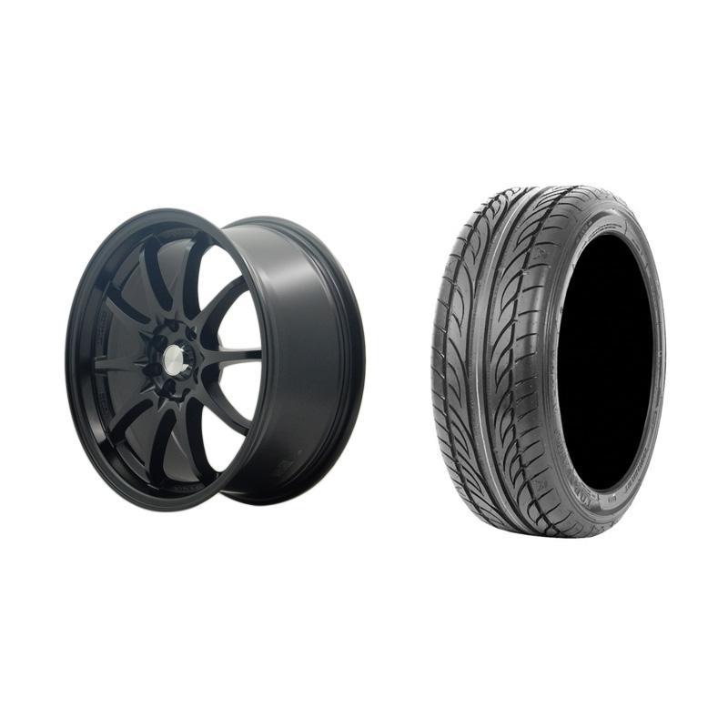 Paket Special TKB Group Indonesia [HSR Wheel CE28 JD1007 Semi Matte Black Velg Mobil Ring 17x75 H8x100/114,3 ET38 + Accelera Alpha 205/45 R17 Ban Mobil Black]