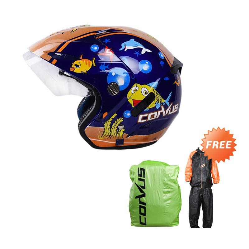 harga Promo Corvus Speed Race Helm Half Face - Blue Orange + Free Mezzo Standart Version Ventilator Jas HUjan + Corvus Cover Bag - Hijau Blibli.com