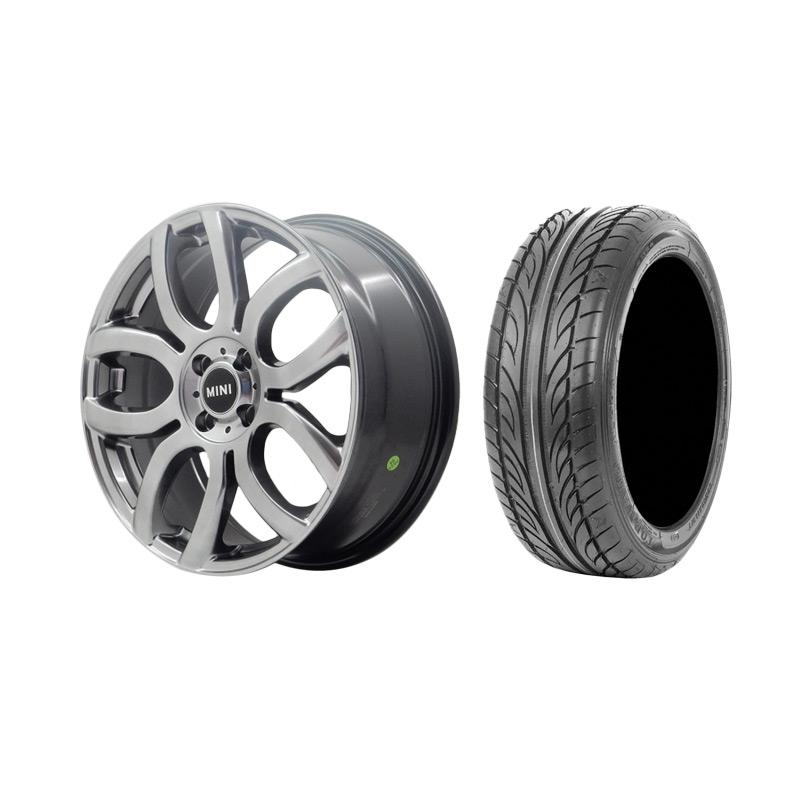 Paket Special TKB Group Indonesia HSR Wheel Mini BW5027 Velg Mobil - Hyper Black [Ring 17x70 H4x100 ET48] + Accelera Alpha 205/45 R17 Ban Mobil - Black