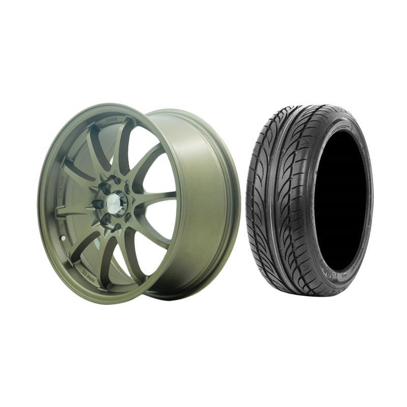 Paket Special TKB Group Indonesia [HSR Wheel CE28 JD1007 Semi Matte Bronze Velg Mobil Ring 17x75 H8x100/114,3 ET38 + Accelera Alpha 205/45 R17 Ban Mobil Black]