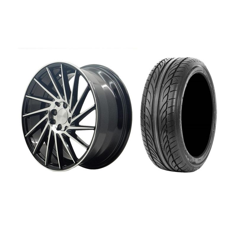 Paket Special TKB Group Indonesia [HSR Wheel VPS304 237L Black Machine Lip Velg Mobil Ring 17x75/85 H8x100/114,3 ET45/35 + Accelera Alpha 205/45 R17 Ban Mobil Black]