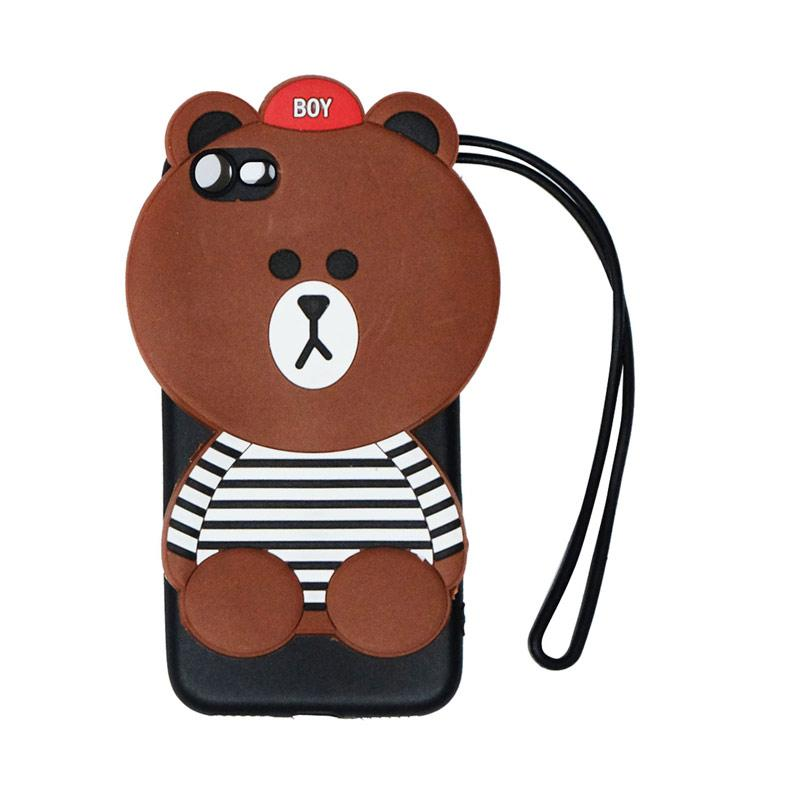 VR Silicon Karakter 3D Boy Bear List Edition Softcase Casing with Tali Gantungan for Apple iPhone 7/iPhone7/Iphone 7G/Iphone 7S Ukuran 4.7 Inch - Brown
