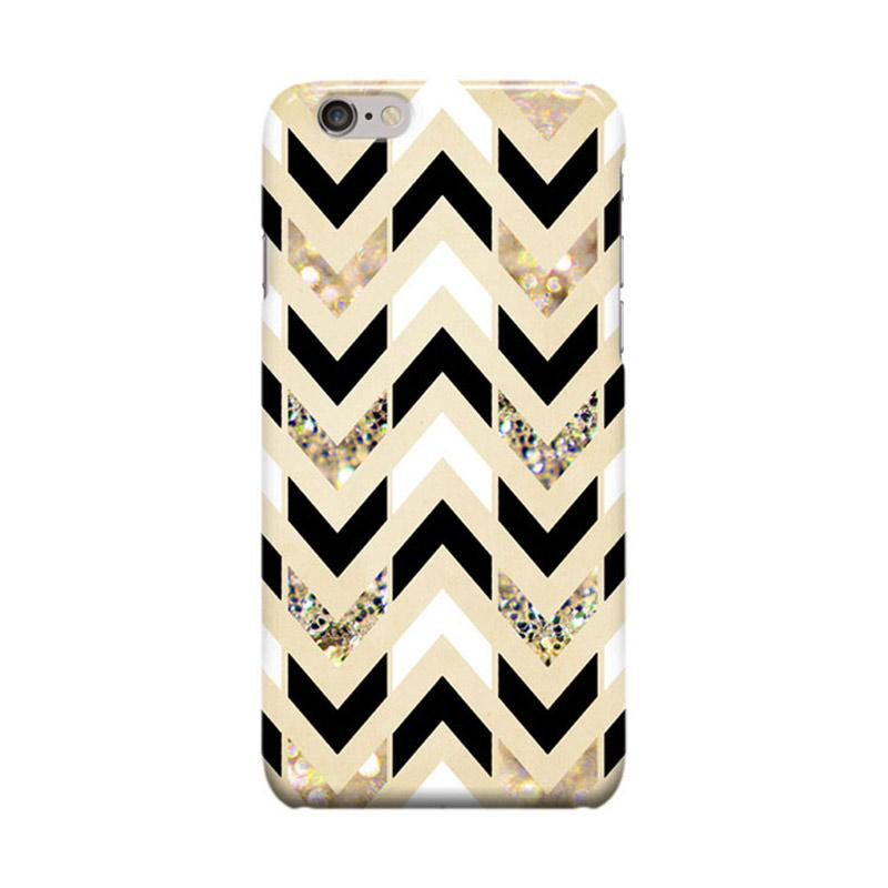 Indocustomcase Glitter Herringbone Chevron on Nude Cream Cover Casing for iPhone 6 Plus or 6S Plus - Black White Gold