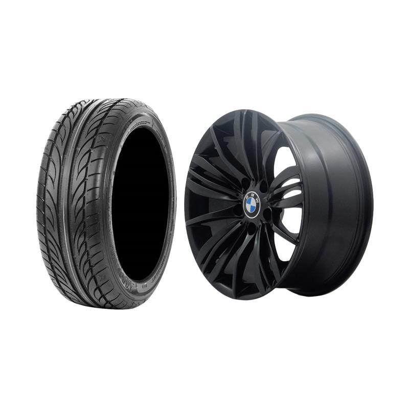 Paket Special TKB Group Indonesia HSR Wheel Reizend BW463 Velg Mobil - Semi Matte Black [Ring 17x80 H5x120 ET35] + Accelera Alpha 205/45 R17 Ban Mobil - Black