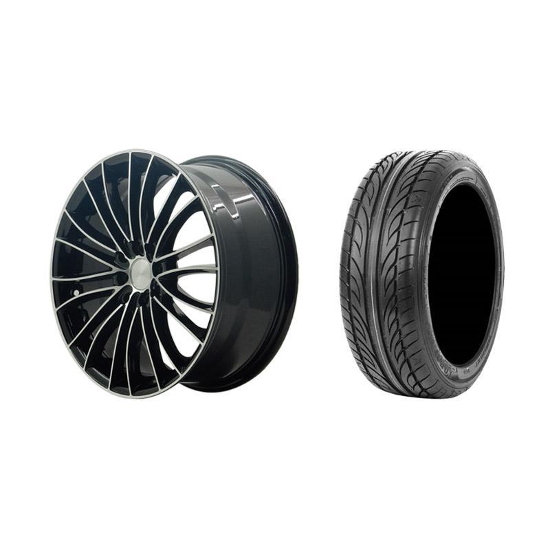 Paket Special TKB Group Indonesia [HSR Wheel Nouveau JD1850 Black Machine Face Velg Mobil Ring 17x75 H8x100/114,3 ET45 + Accelera Alpha 205/45 R17 Ban Mobil Black]