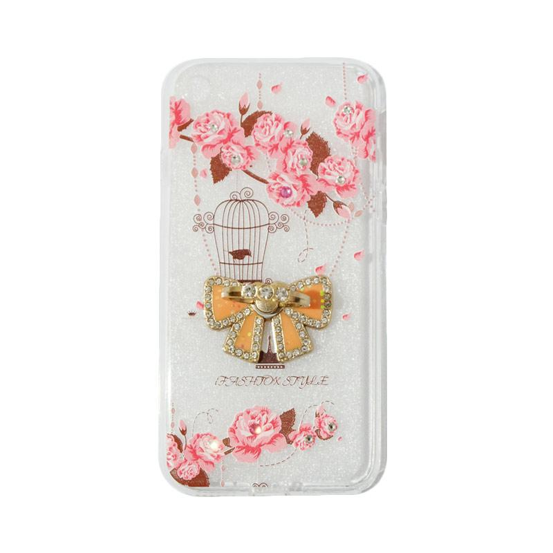 VR Swarovski Bird 5 Ultrathin Silicone Softcase Casing with Diamond Ring Stand for Apple iPhone 7G 4.7 Inch