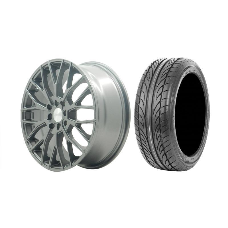 Paket Special TKB Group Indonesia [HSR Wheel Vorteil JD3308 Semi Matte Grey Velg Mobil Ring 17x7 H8x100/114,3 ET45 + Accelera Alpha 205/45 R17 Ban Mobil Black]