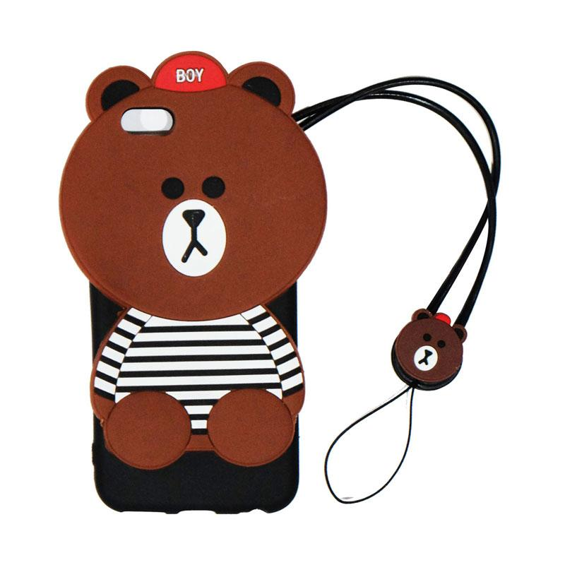 VR Silicon Karakter 3D Boy Bear List Edition Softcase Casing with Tali Gantungan for Apple iPhone 6/iPhone6/Iphone 6G/Iphone 6S Ukuran 4.7 Inch - Brown