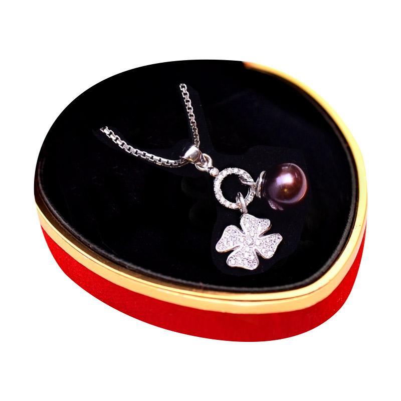 Royale Jewel WGP 081D Rare Black Pearl Kalung Perak Emas Putih dan Mutiara Asli Full Upgrade with White Gold Sterling Chain and Velvet Box