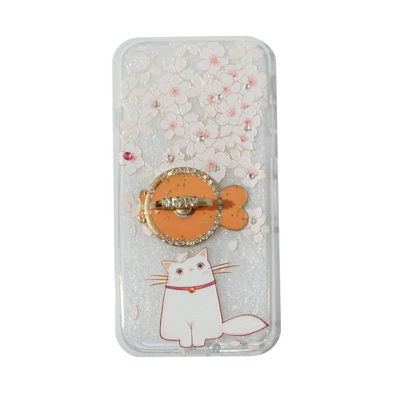 VR Swarovski Cat 7 Ultrathin Silicone Softcase Casing with Diamond Ring Stand for iPhone 7 4.7 Inch