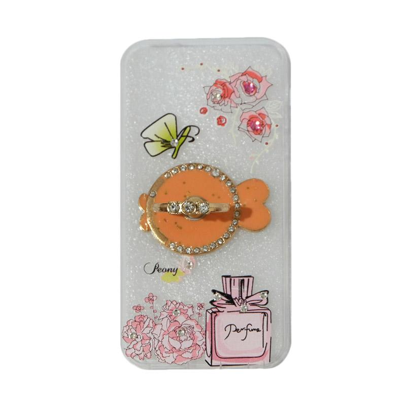 VR Swarovski Perfum 3 Ultrathin Silicone Softcase Casing with Diamond Ring Stand for Apple iPhone 5G/5S/5SE