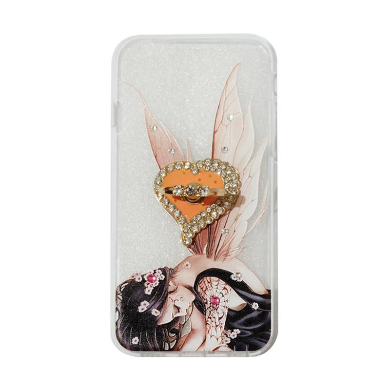 VR Swarovski Fairy 2 Ultrathin Silicone Softcase Casing with Diamond Ring Stand for Apple iPhone 6G or 6S 4.7 Inch
