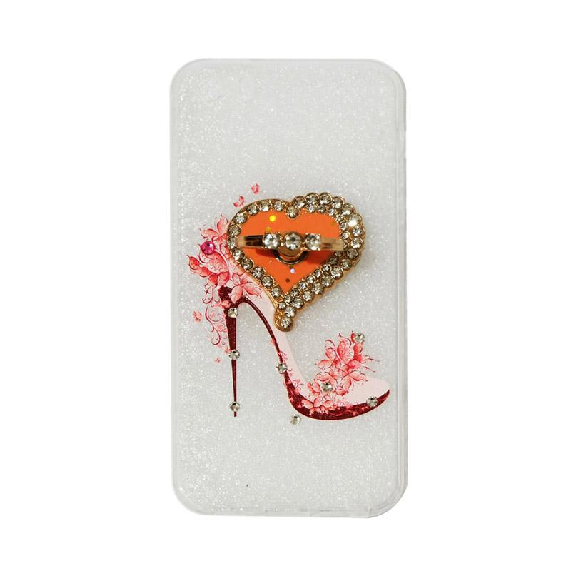 VR Swarovski High Heels 4 Ultrathin Silicone Softcase Casing with Diamond Ring Stand for Apple iPhone 5G/5S/5SE