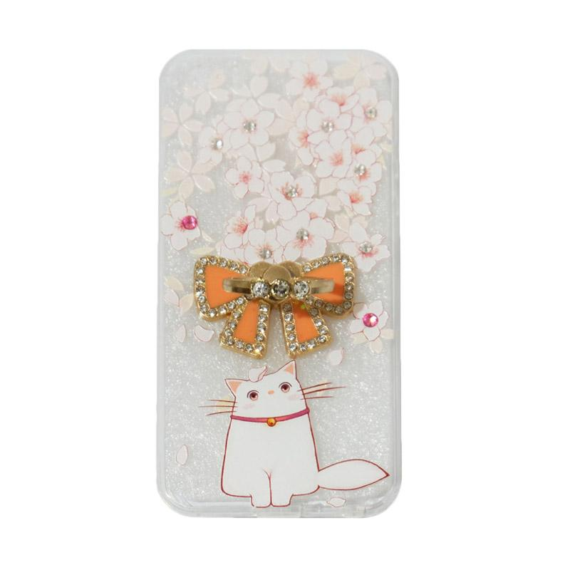 VR Sparkling Swarovski Cat 7 Ultarthin Silicone Softcase with ith Ring Stand Diamond Casing for Apple iPhone 5/5G/5S/5SE