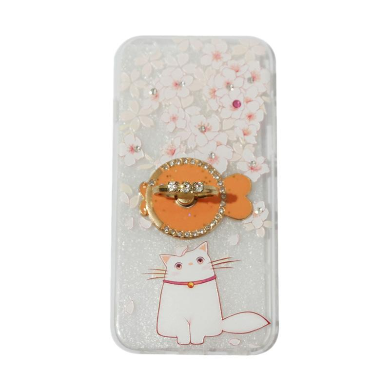 VR Sparkling Swarovski Cat Ultrathin Silicone Softcase with Ring Stand Diamond Casing for Apple iPhone 6/6G/6S 4.7 Inch