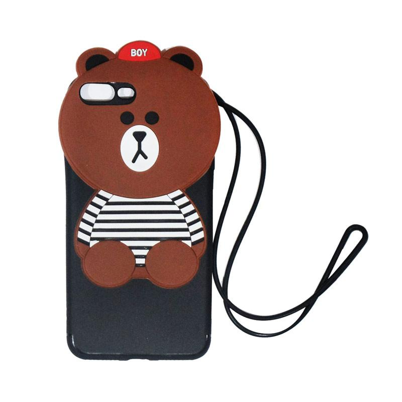 VR Silicon Karakter 3D Boy Bear List Edition Softcase Casing with Tali Gantungan for Apple iPhone 7 Plus/iPhone7 Plus/Iphone 7Plus/Iphone 7+ Ukuran 5.5 Inch - Brown