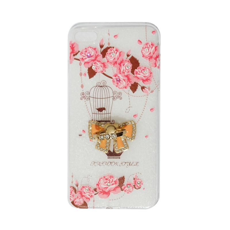 VR Sparkling Swarovski Bird Ultrathin Silicone Softcase with Ring Stand Diamond Casing for Apple iPhone 7 Plus 5.5 Inch