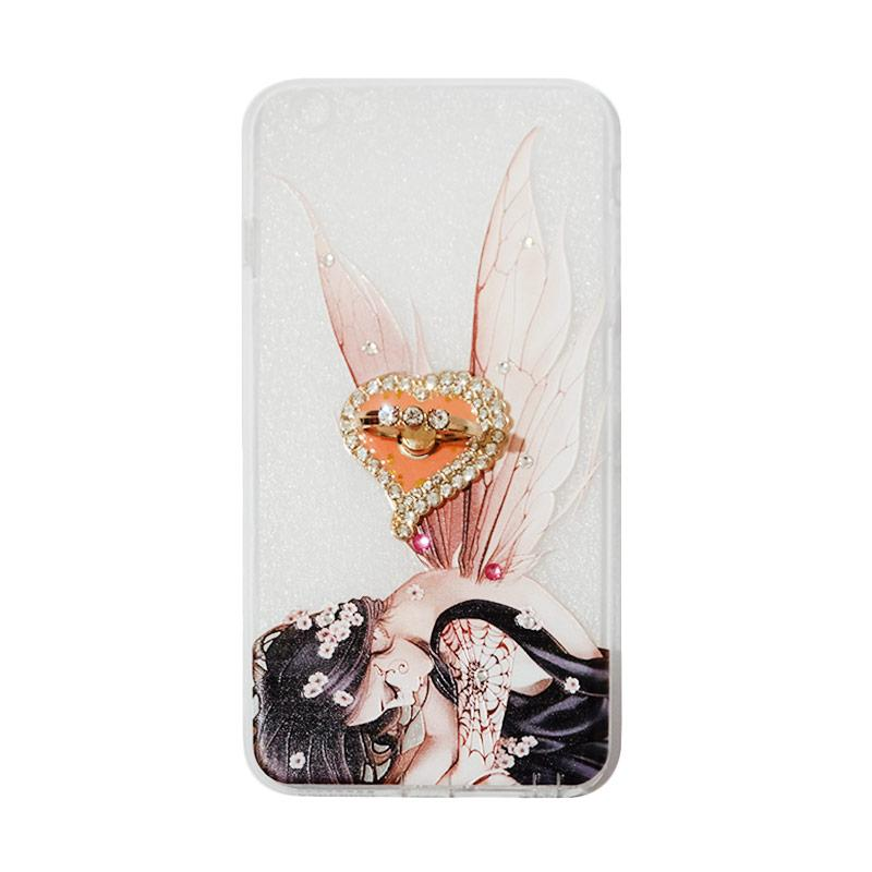 VR Swarovski Fairy 2 Ultrathin Silicone Softcase Casing with Diamond Ring Stand for Apple iPhone 6 Plus 5.5 Inch