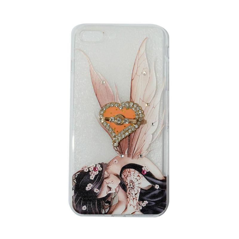 VR Swarovski Fairy 2 Ultrathin Silicone Softcase Casing with Diamond Ring Stand for Apple iPhone 7 Plus 5.5 Inch