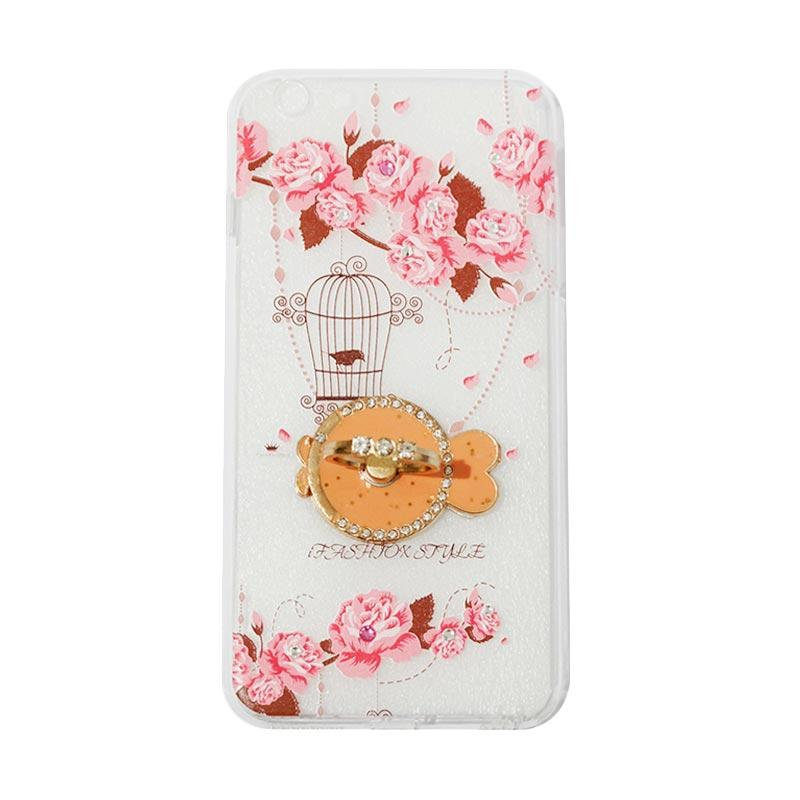 VR Swarovski Bird 5 Ultrathin Silicone Softcase Casing with Diamond Ring Stand for Apple iPhone 6 Plus 5.5 Inch