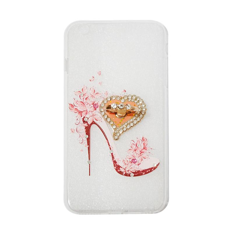 VR Swarovski High Heels 4 Ultrathin Silicone Softcase Casing with Diamond Ring Stand for Apple iPhone 6 Plus 5.5 Inch