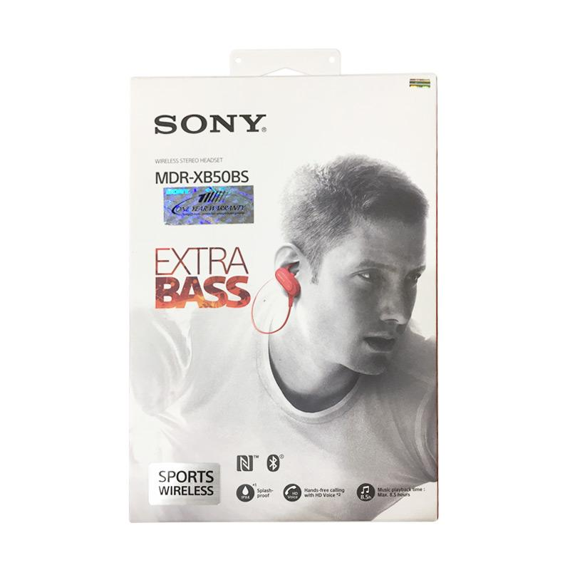 harga SONY XB 50BS In Ear Headset - Red Blibli.com