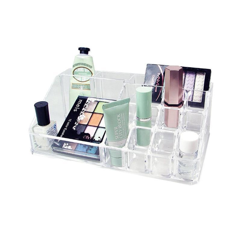 Acrylic Tempat Kosmetik Datar Clear