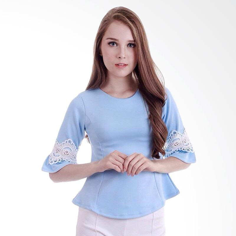 KULO Bell Sleeve Crochet Top Atasan Wanita - Light Sky Blue