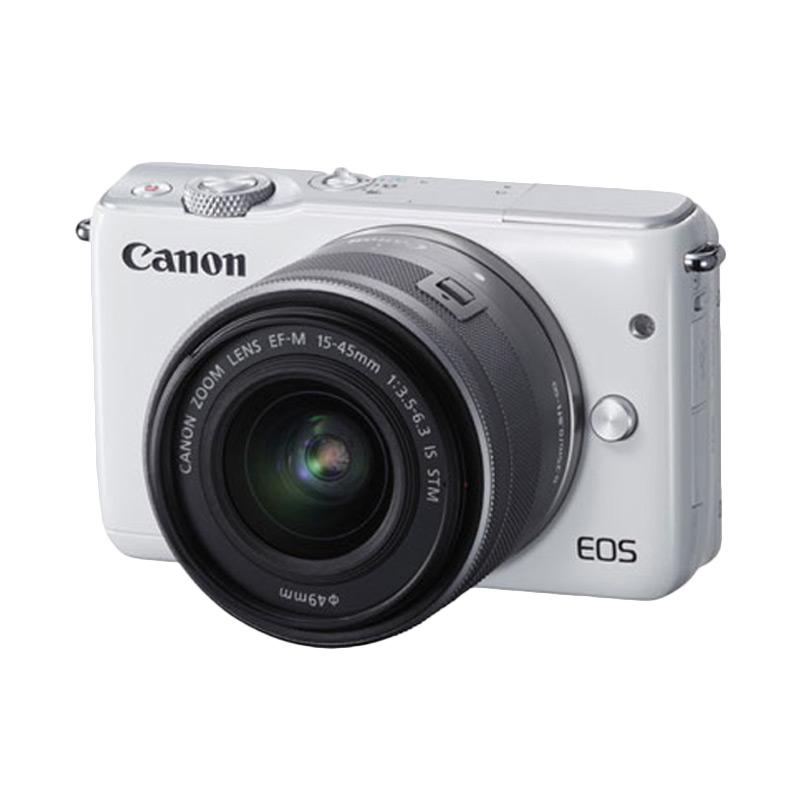 Canon EOS M10 Kit EF-M 15-45mm Kamera Mirrorless - White + Boneka Pikachu