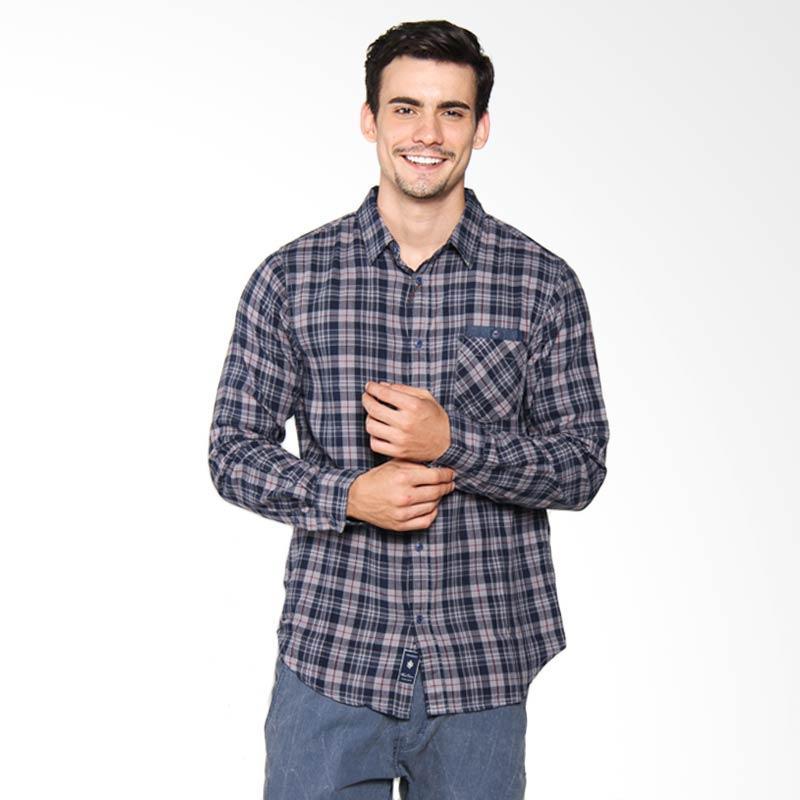 Famo Check Long Shirt Kemeja Pria - Blue 509041711