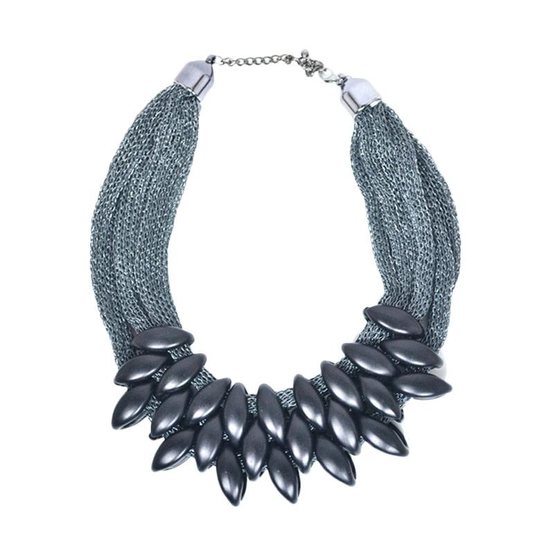 Momy Ribbon Almond Necklace - Black