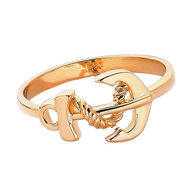 Cincin Emas Kadar 75 perhiasan emas - Gold Ring Anchor-WHIZLIZ