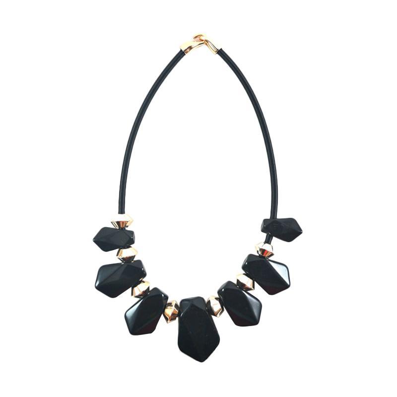 Momy Ribbon Diamond Necklace - Black
