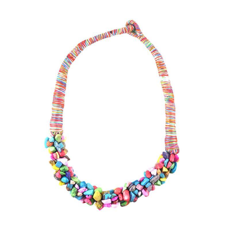 Momy Ribbon Multi Pebble Necklace