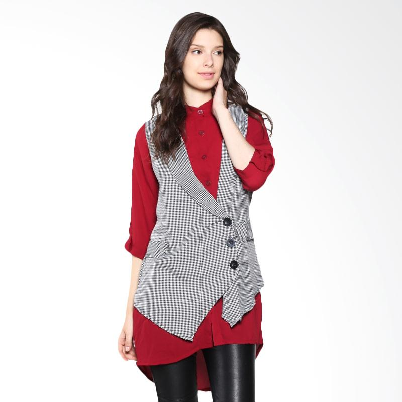 Carte Blouse With Vest - Red