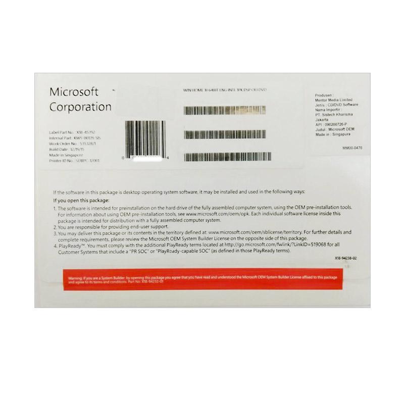 Microsoft Windows 10 Home 64 bit Software [OEM]