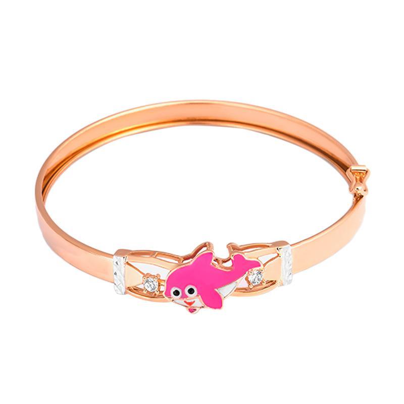 Pink Fish Gold Kids Bangle - Gelang Emas Anak Kadar 37,5