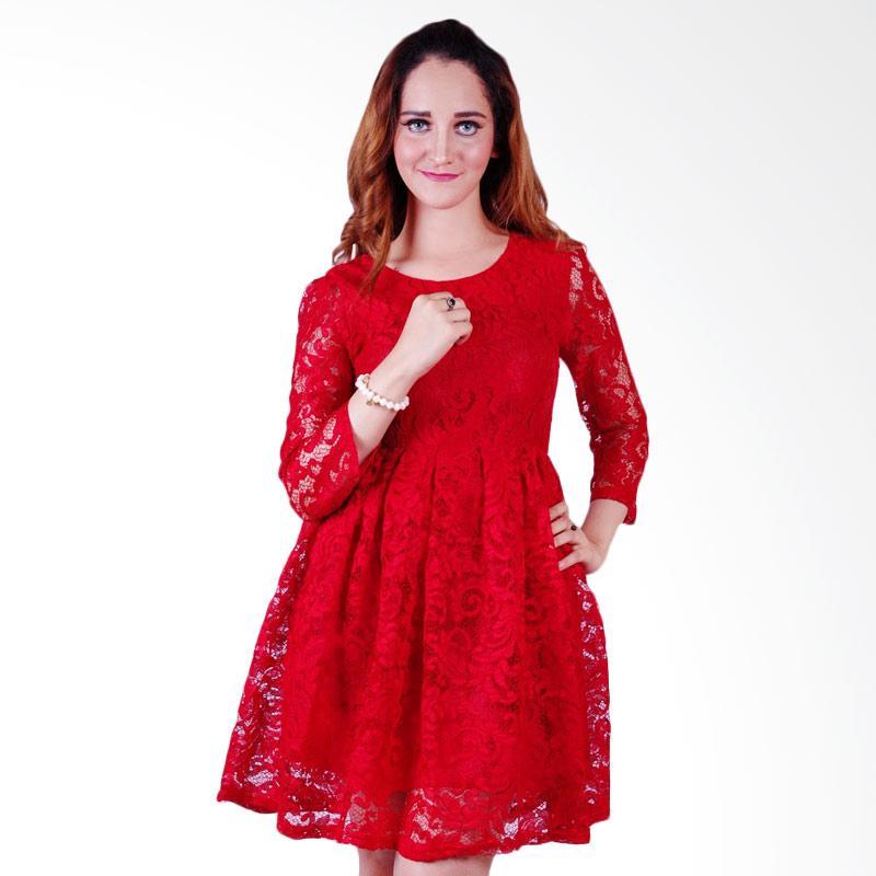 harga Babushka Elsa Brokat Mini Dress - Red Blibli.com
