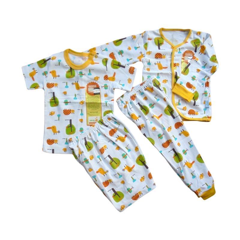 Velvet Junior Motif Tucano Piyama Lengan Panjang dan Pendek Paket Setelan Baju Tidur Anak - Yellow