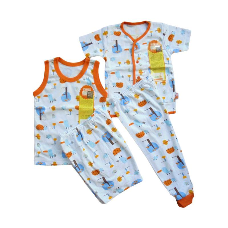 Velvet Junior Motif Tucano Piyama Sleeveless dan Pendek Setelan Baju Tidur Anak - Orange