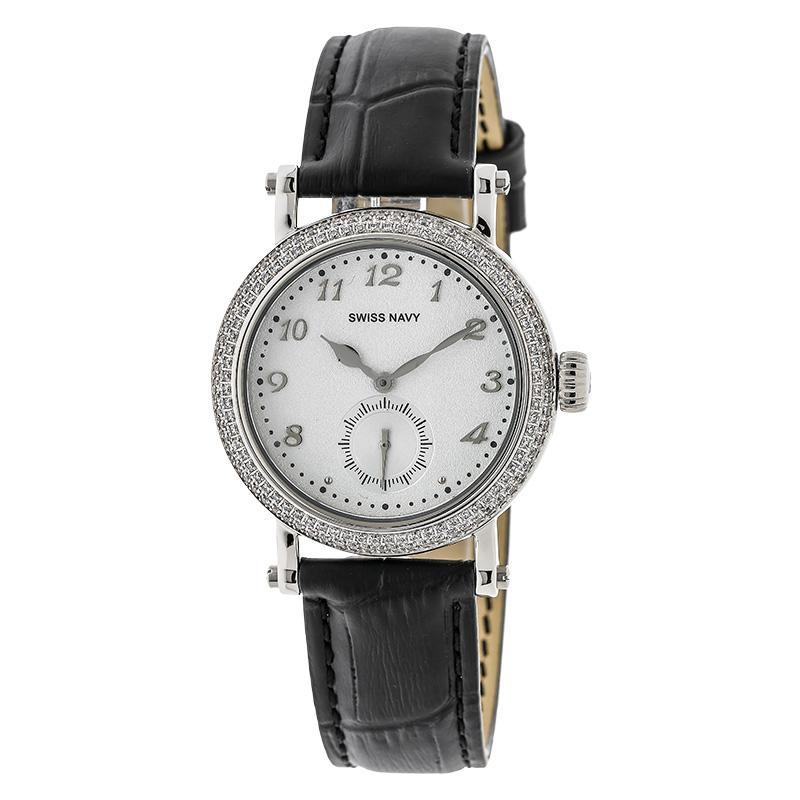 Swiss Navy 8588LSSBK White Dial Black Leather Strap Jam Tangan Wanita